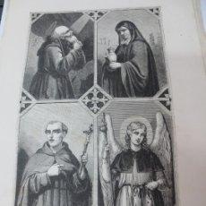 Arte: LÁMINA LITOGRAFÍA RELIGIOSA SAN HILARION, SANTA SALOME, SAN JUAN CAPISTRANO Y SAN RAFAEL. Lote 178202098
