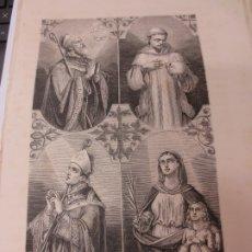Arte: LÁMINA LITOGRAFÍA RELIGIOSA SAN FROILAN, SAN BRUNO, SAN ATILANO Y SANTA BIRGITA. Lote 178202228