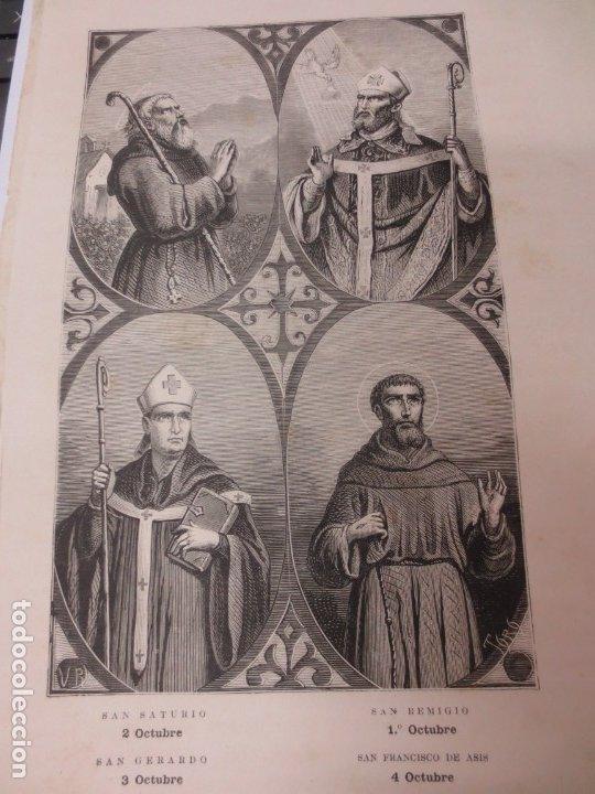 LÁMINA LITOGRAFÍA RELIGIOSA SAN SATURIO, SAN REMIGIO, SAN GERARDO Y SAN FRANCISCO DE ASIS (Arte - Arte Religioso - Litografías)