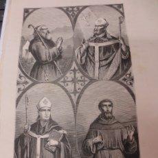Arte: LÁMINA LITOGRAFÍA RELIGIOSA SAN SATURIO, SAN REMIGIO, SAN GERARDO Y SAN FRANCISCO DE ASIS. Lote 178202325