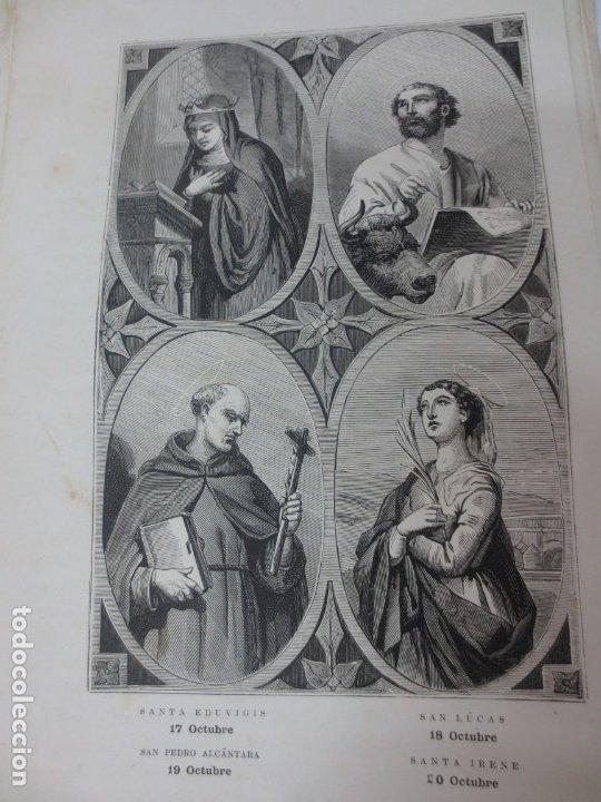 LÁMINA LITOGRAFÍA RELIGIOSA SANTA EDUVIGIS, SAN LUCAS, SAN PEDRO ALCANTARA Y SANTA IRENE (Arte - Arte Religioso - Litografías)