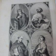 Arte: LÁMINA LITOGRAFÍA RELIGIOSA SANTA EDUVIGIS, SAN LUCAS, SAN PEDRO ALCANTARA Y SANTA IRENE. Lote 178202746