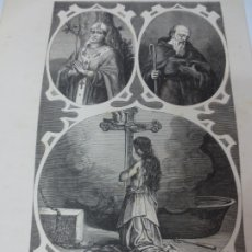 Arte: LÁMINA LITOGRAFÍA RELIGIOSA SAN VICTORINO, SAN ELEUTERIO Y SANTA REGINA . Lote 178203655