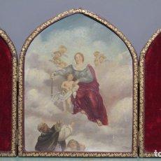 Arte: LA VIRGEN ENTREGANDO EL ROSARIO A SANTO DOMINGO. OLEO S/ CHAPA. SIGLO XIX. Lote 178224507