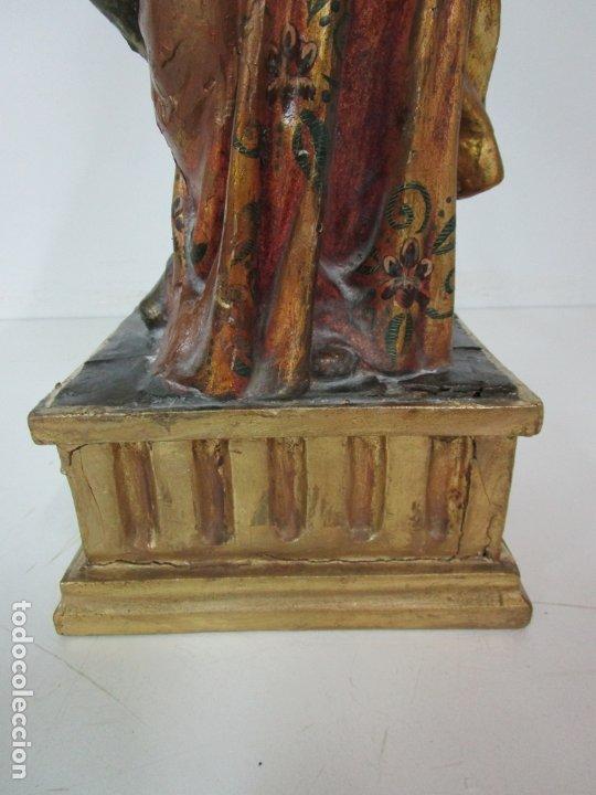 Arte: Bonita Virgen con Niño - Talla de Madera Policromada y Dorada - S. XVIII - Foto 3 - 178229822