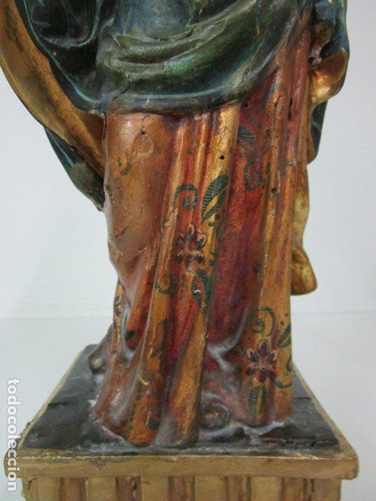 Arte: Bonita Virgen con Niño - Talla de Madera Policromada y Dorada - S. XVIII - Foto 4 - 178229822