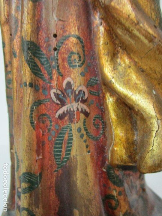 Arte: Bonita Virgen con Niño - Talla de Madera Policromada y Dorada - S. XVIII - Foto 5 - 178229822