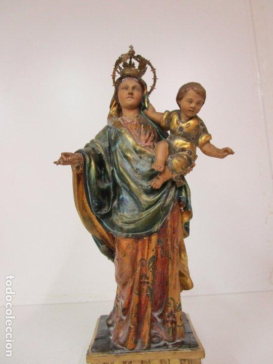 Arte: Bonita Virgen con Niño - Talla de Madera Policromada y Dorada - S. XVIII - Foto 6 - 178229822