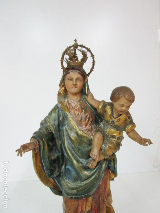 Arte: Bonita Virgen con Niño - Talla de Madera Policromada y Dorada - S. XVIII - Foto 7 - 178229822