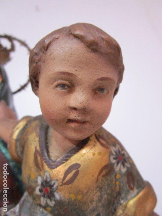 Arte: Bonita Virgen con Niño - Talla de Madera Policromada y Dorada - S. XVIII - Foto 9 - 178229822