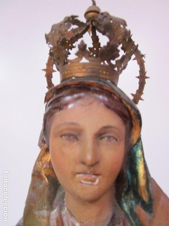 Arte: Bonita Virgen con Niño - Talla de Madera Policromada y Dorada - S. XVIII - Foto 10 - 178229822