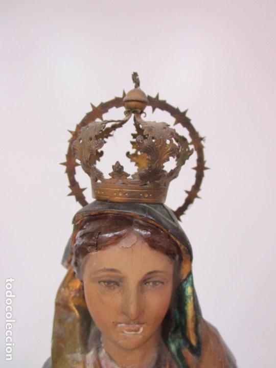 Arte: Bonita Virgen con Niño - Talla de Madera Policromada y Dorada - S. XVIII - Foto 11 - 178229822