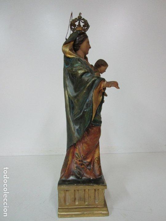 Arte: Bonita Virgen con Niño - Talla de Madera Policromada y Dorada - S. XVIII - Foto 12 - 178229822
