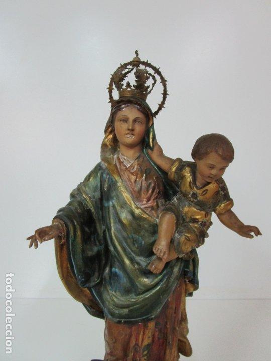 Arte: Bonita Virgen con Niño - Talla de Madera Policromada y Dorada - S. XVIII - Foto 16 - 178229822