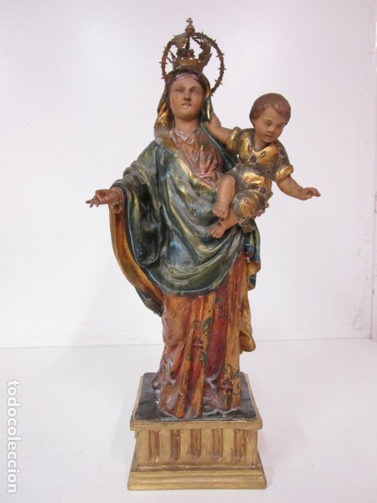 BONITA VIRGEN CON NIÑO - TALLA DE MADERA POLICROMADA Y DORADA - S. XVIII (Arte - Arte Religioso - Escultura)