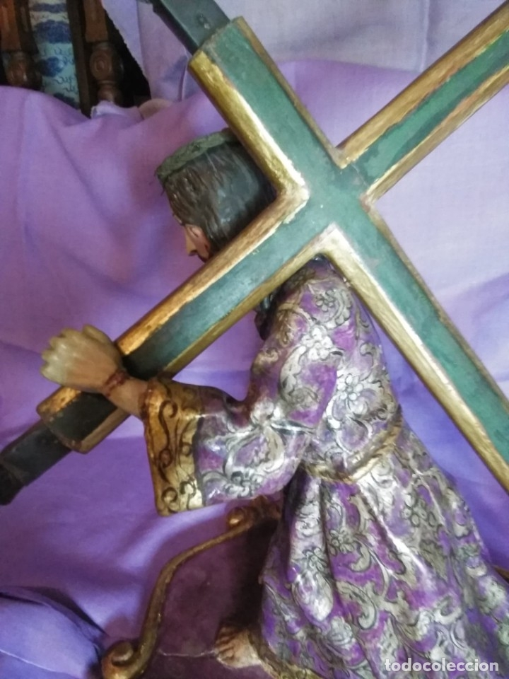 Arte: VIA CRUCIS PASSION Jesus Christ Olot and wood. Colonial Peru.Century 18 - 19 - Foto 11 - 177757967