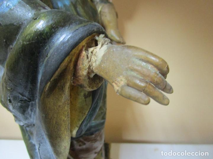 Arte: Bonita Virgen con Niño - Talla de Madera Policromada y Dorada - S. XVIII - Foto 18 - 178229822