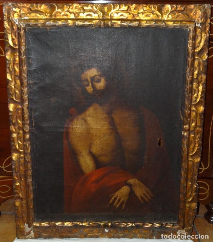 ECCE HOMO ESCUELA DE VALLADOLID S XVII OLEO Y MARCO SI XVII (Arte - Arte Religioso - Pintura Religiosa - Oleo)