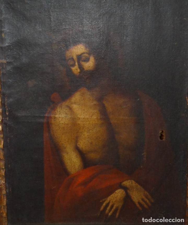 Arte: ECCE HOMO ESCUELA DE VALLADOLID S XVII OLEO Y MARCO SI XVII - Foto 2 - 178272061