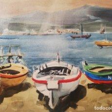 Arte: 2 ACUARELA DE JOAN TORRABADELL, PALAMOS. Lote 178333967