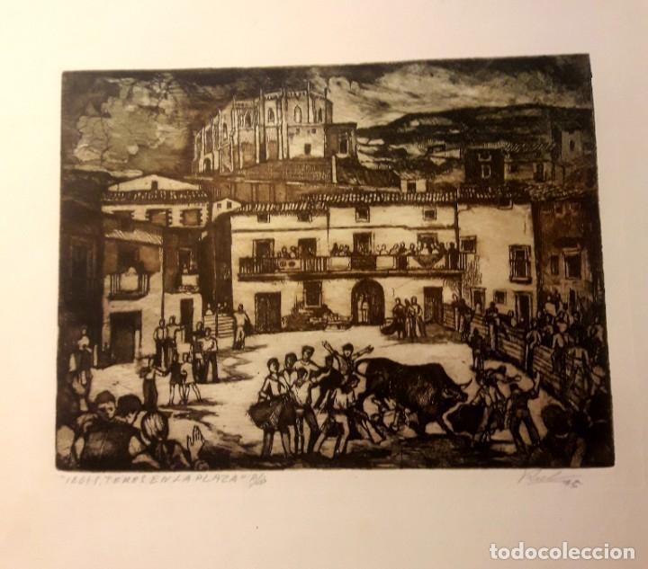IBDES. CALATAYUD. MARIANO RUBIO. AGUAFUERTE ORIGINAL. TOROS EN LA PLAZA. (Arte - Arte Religioso - Grabados)