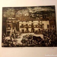 Arte: IBDES. CALATAYUD. MARIANO RUBIO. AGUAFUERTE ORIGINAL. TOROS EN LA PLAZA.. Lote 178353537