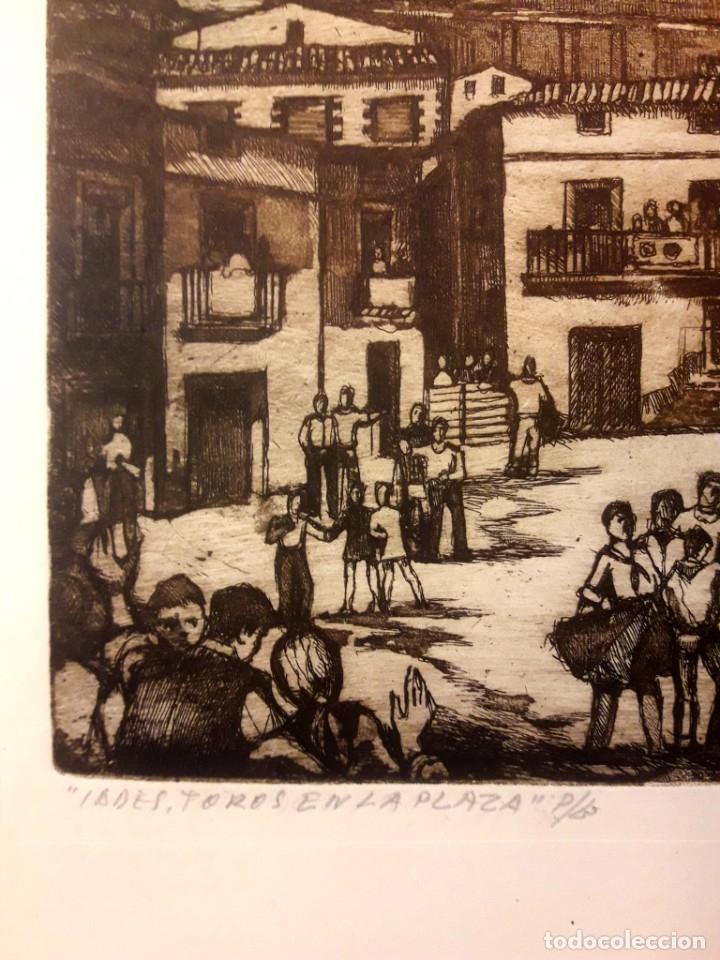Arte: Ibdes. Calatayud. Mariano Rubio. Aguafuerte original. Toros en la plaza. - Foto 2 - 178353537