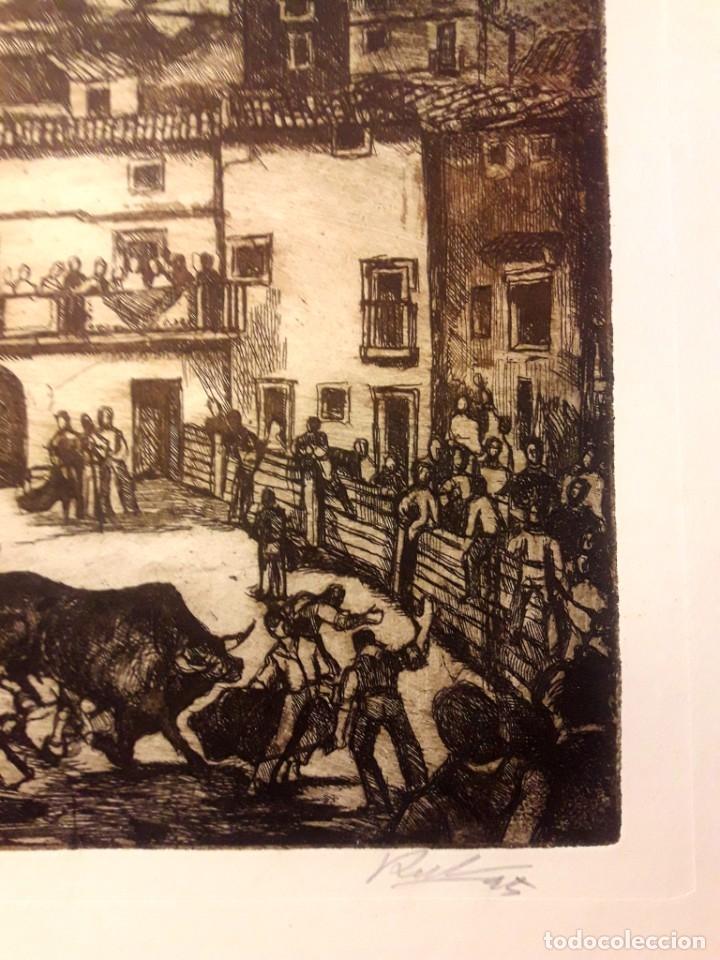 Arte: Ibdes. Calatayud. Mariano Rubio. Aguafuerte original. Toros en la plaza. - Foto 3 - 178353537