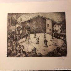 Arte: IBDES. CALATAYUD. MARIANO RUBIO. AGUAFUERTE ORIGINAL. EL FRONTÓN.. Lote 178354535