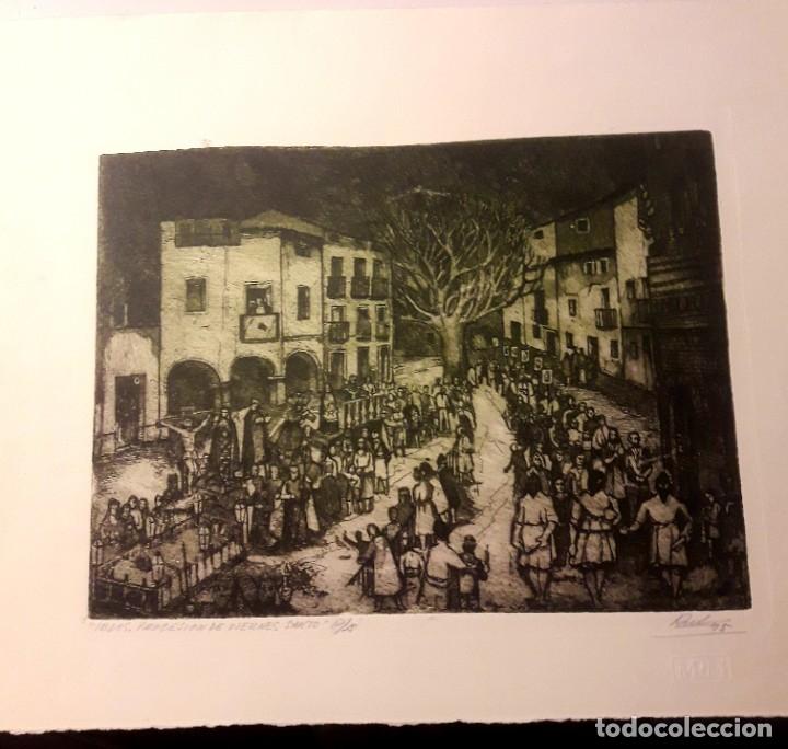 IBDES. CALATAYUD. MARIANO RUBIO. AGUAFUERTE ORIGINAL. PROCESIÓN DE VIERNES SANTO. (Arte - Arte Religioso - Grabados)