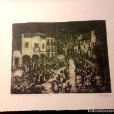Arte: IBDES. CALATAYUD. MARIANO RUBIO. AGUAFUERTE ORIGINAL. PROCESIÓN DE VIERNES SANTO.. Lote 178355782