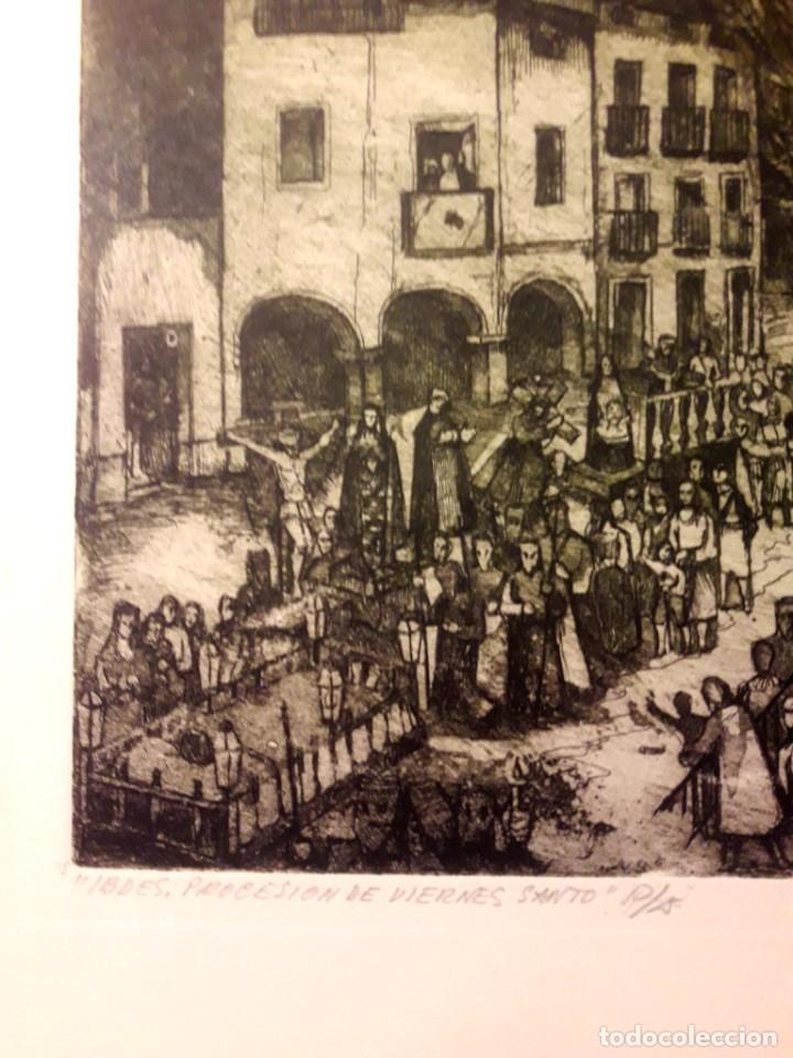 Arte: Ibdes. Calatayud. Mariano Rubio. Aguafuerte original. Procesión de Viernes Santo. - Foto 2 - 178355782