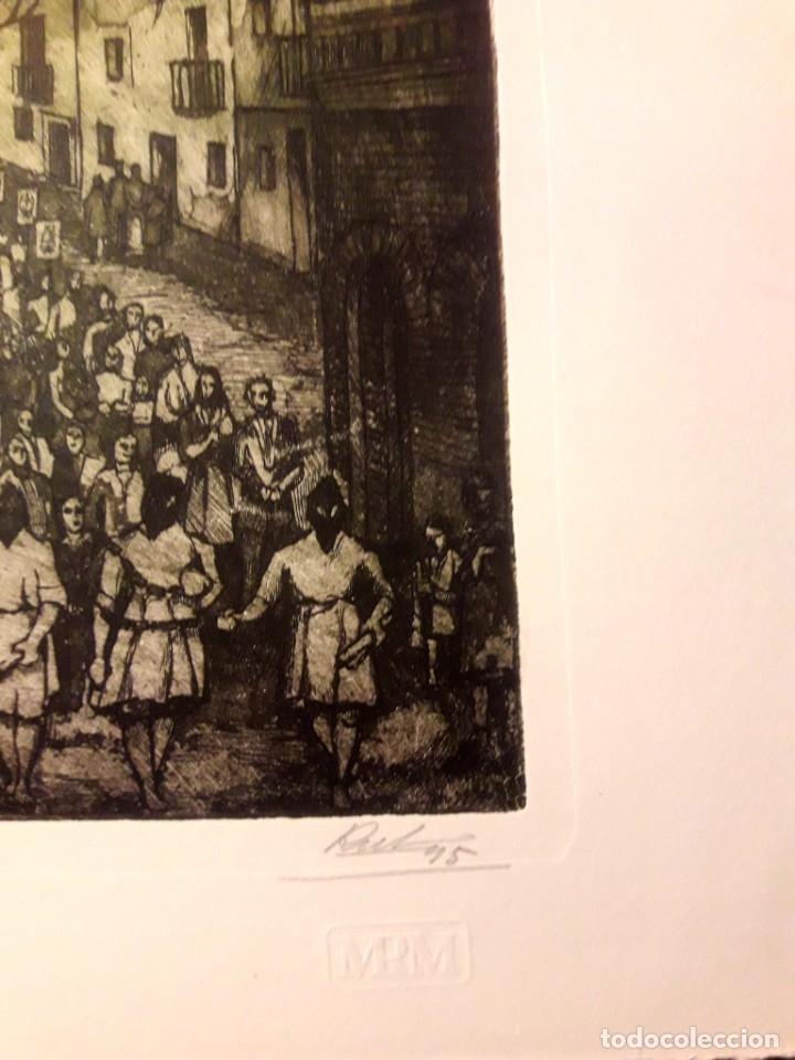 Arte: Ibdes. Calatayud. Mariano Rubio. Aguafuerte original. Procesión de Viernes Santo. - Foto 3 - 178355782