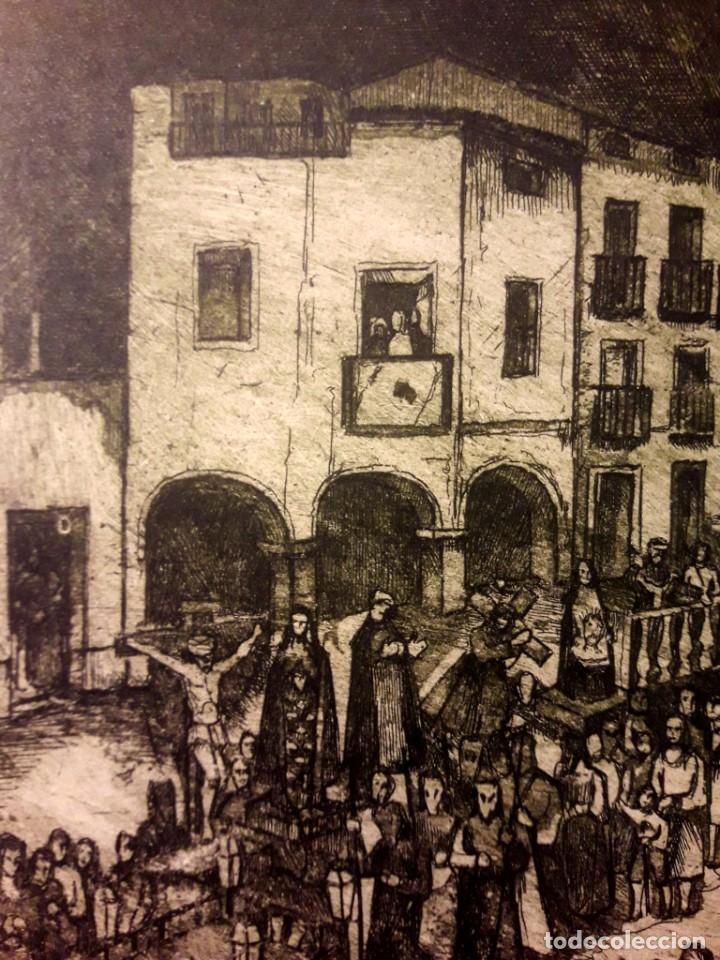 Arte: Ibdes. Calatayud. Mariano Rubio. Aguafuerte original. Procesión de Viernes Santo. - Foto 4 - 178355782