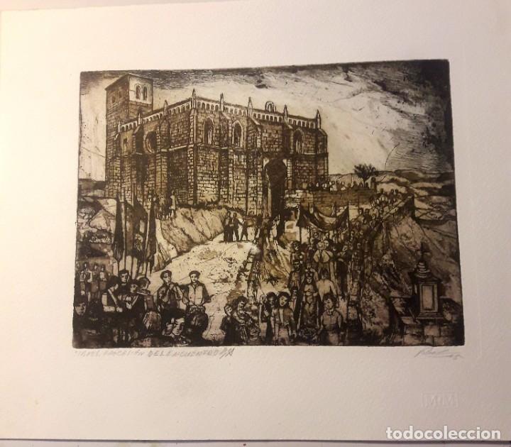 IBDES. CALATAYUD. MARIANO RUBIO. AGUAFUERTE ORIGINAL. PROCESIÓN DEL ENCUENTRO. (Arte - Arte Religioso - Grabados)