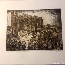 Arte: IBDES. CALATAYUD. MARIANO RUBIO. AGUAFUERTE ORIGINAL. PROCESIÓN DEL ENCUENTRO.. Lote 178356545