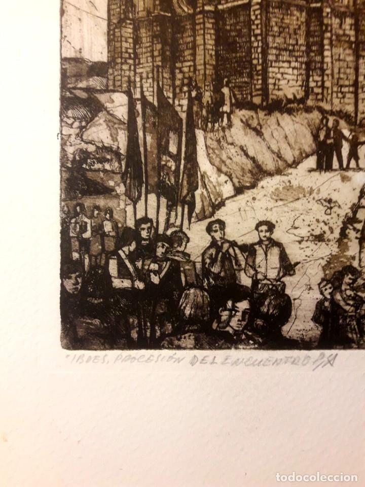 Arte: Ibdes. Calatayud. Mariano Rubio. Aguafuerte original. Procesión del Encuentro. - Foto 4 - 178356545