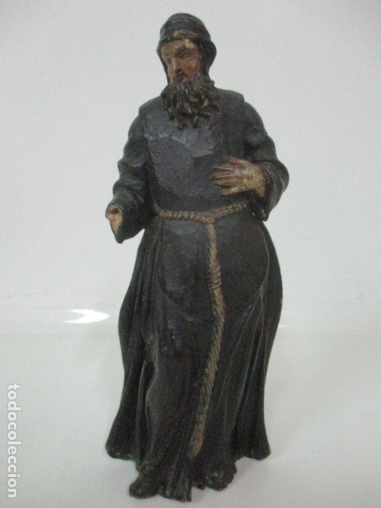 Arte: Preciosa Escultura - San Francisco de Paula - Madera Tallada y Policromada - S. XVIII - Foto 2 - 178526492