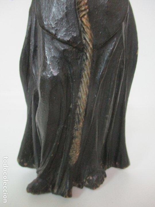 Arte: Preciosa Escultura - San Francisco de Paula - Madera Tallada y Policromada - S. XVIII - Foto 3 - 178526492