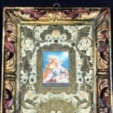 Arte: SAN AGUSTIN OLEO SOBRE VITELA CON BORDADOS Y MARCÓ DE ÉPOCA SIGLO XVII/XVIII. Lote 178591598