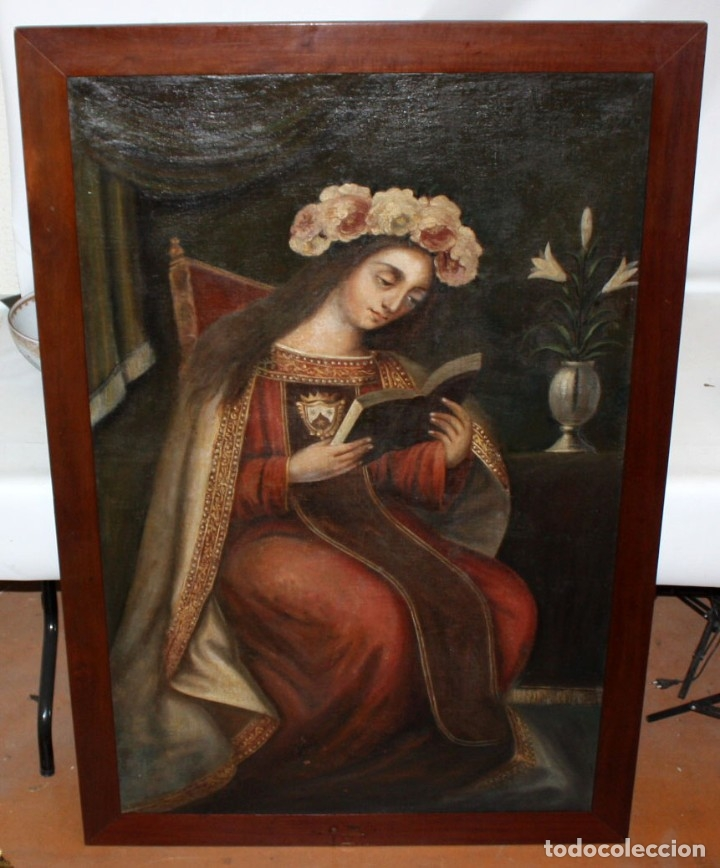 Arte: ESCUELA ESPAÑOLA DEL SIGLO XVIII. OLEO SOBRE TELA. VIRGEN DEL CARMEN - Foto 2 - 178637036