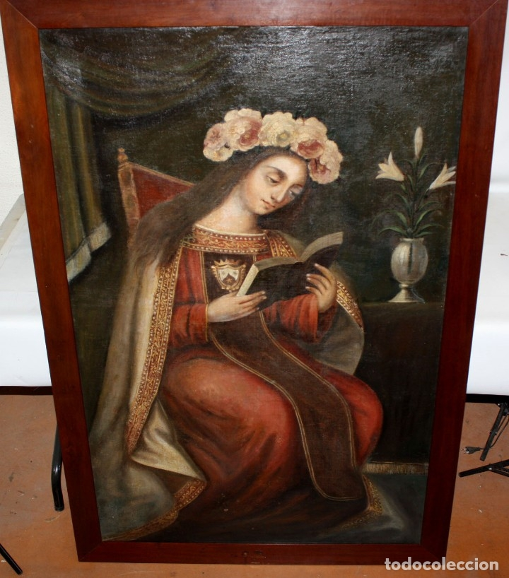 Arte: ESCUELA ESPAÑOLA DEL SIGLO XVIII. OLEO SOBRE TELA. VIRGEN DEL CARMEN - Foto 4 - 178637036