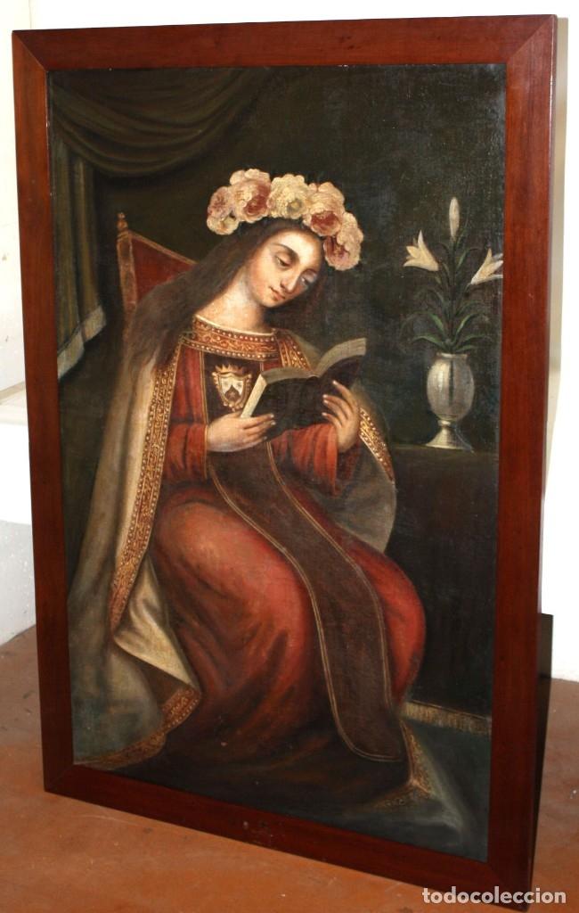 Arte: ESCUELA ESPAÑOLA DEL SIGLO XVIII. OLEO SOBRE TELA. VIRGEN DEL CARMEN - Foto 5 - 178637036
