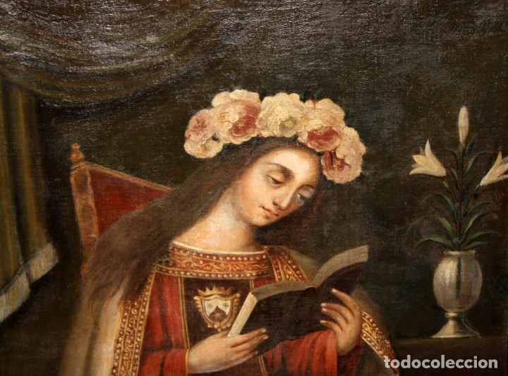Arte: ESCUELA ESPAÑOLA DEL SIGLO XVIII. OLEO SOBRE TELA. VIRGEN DEL CARMEN - Foto 6 - 178637036