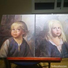 Arte: BRAGOLIN-PAREJA DE NIÑOS LLORANDO-SOBRE MADERA-SEGUN LA LEYENDA MEJOR EN PAREJA. Lote 178680080