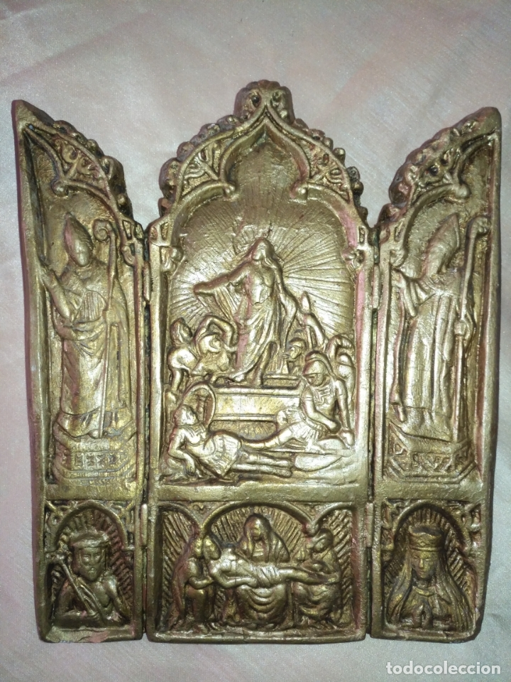 TRIPTICO RELIGIOSO ESTUCO DORADO 31 X 26 CM , RETABLO CAPILLA (Arte - Arte Religioso - Trípticos)