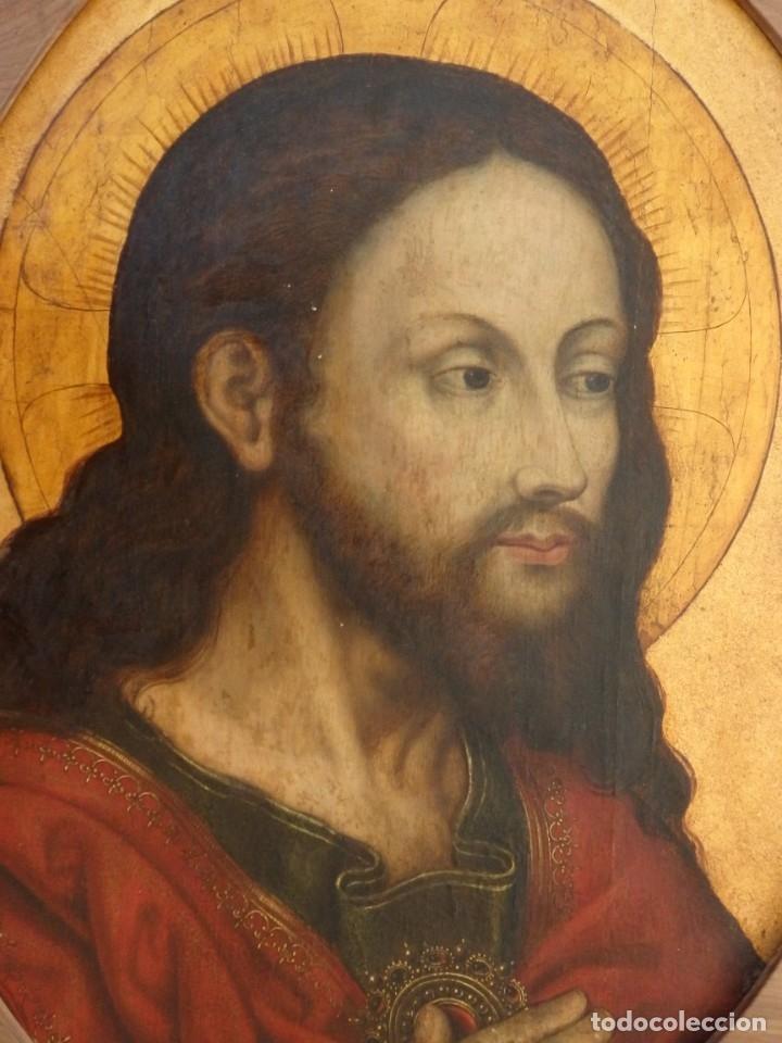 RETRATO DE JESUCRISTO. ÓLEO SOBRE TABLA. ESCUELA ITALIANA DEL SIGLO XVI. MIDE CON MARCO 69 X 57 CM. (Arte - Arte Religioso - Pintura Religiosa - Oleo)