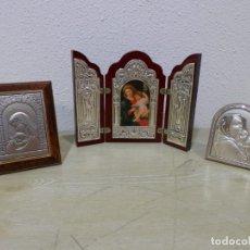 Arte: VIRGEN CON NIÑO, MADONNA, 3 ICONOS SOBREMESA DECORADOS EN PLATA DE LEY, UNO DE VALENTI. Lote 178738423