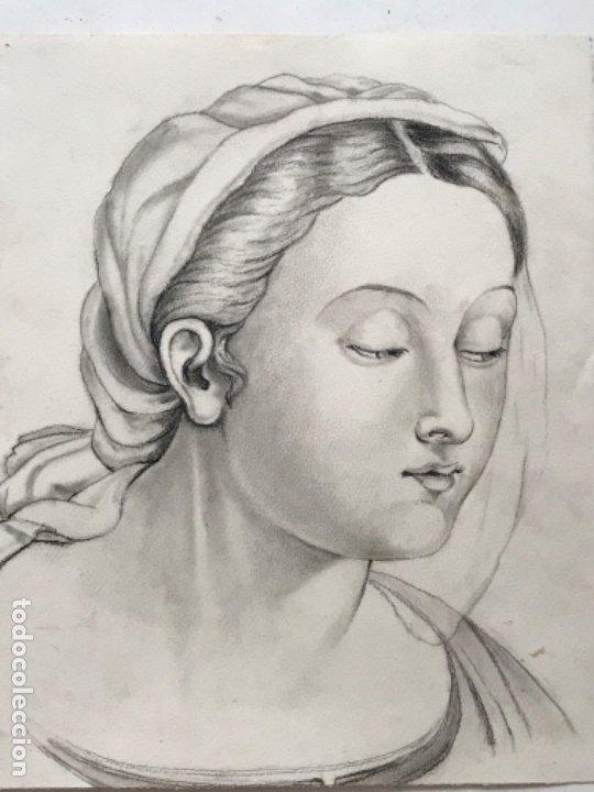 DIBUJO A LÁPIZ DE LA VIRGEN MARÍA. ANÓNIMO. PRINCIPIOS S.XX. (Arte - Arte Religioso - Pintura Religiosa - Otros)