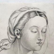 Arte: DIBUJO A LÁPIZ DE LA VIRGEN MARÍA. ANÓNIMO. PRINCIPIOS S.XX. . Lote 178753086